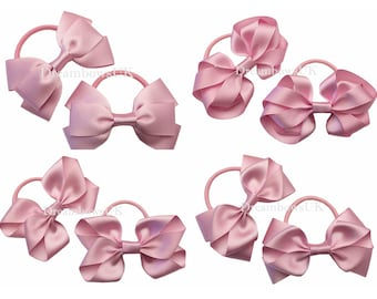Baby pink grosgrain ribbon hair bows on thick bobbles 77fba21a387