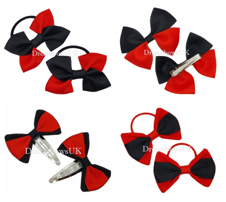Black and red blue grosgrain and fabric hair bows bobbles and image 0