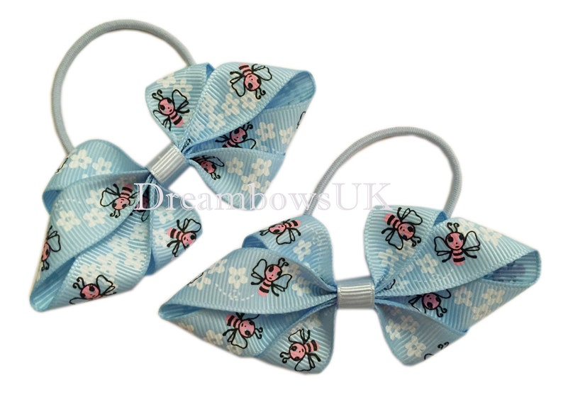 Cute baby blue novelty grosgrain ribbon hair bows on thin image 0