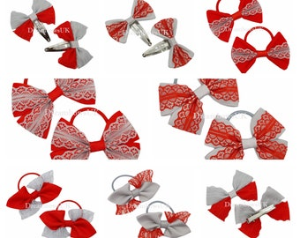 Grey and red lace and grosgrain hair bows, hair accessories, Snag free bobbles, hair clips/slides