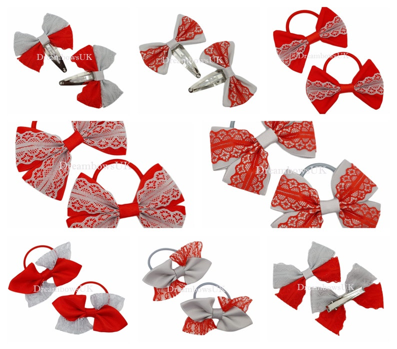 Grey and red lace and grosgrain hair bows hair accessories image 0