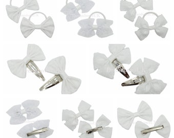 White lace hair bows, Accessories, Girls plain white lace hair fashion bows, thick bobbles, thin bobbles, alligator clips or snap clips