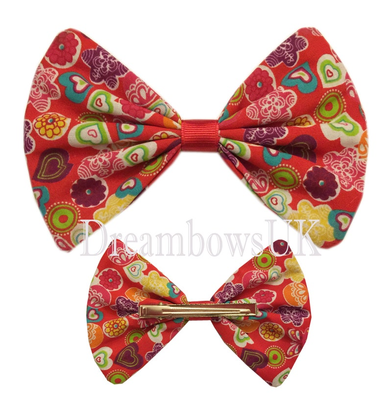 Large red heart print hair bow on alligator clip girls summer image 0