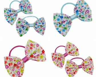 Tiny floral fabric hair bows on thin bobbles, Pink or turquoise floral bows