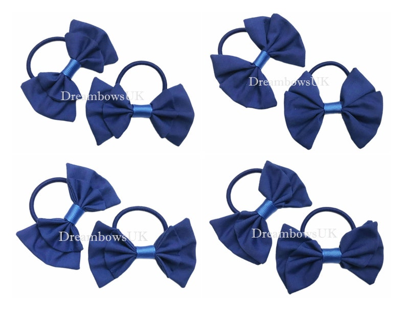 Royal blue fabric hair bows on thick bobbles girls school image 0