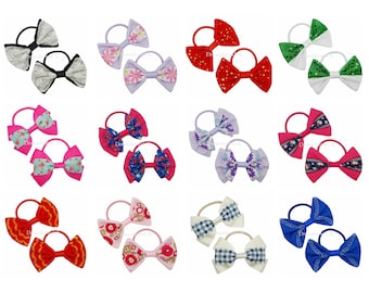 One off hair bows on thick bobbles, Handmade hair accessories, Floral, lace, diamante, embroidered designs