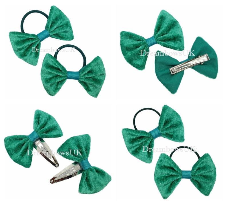 Jade green crushed velvet hair bows hair accessories hair image 0