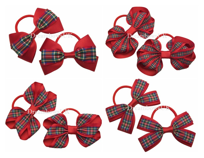 Royal Stewart tartan ribbon hair bows on thick bobbles Royal image 0