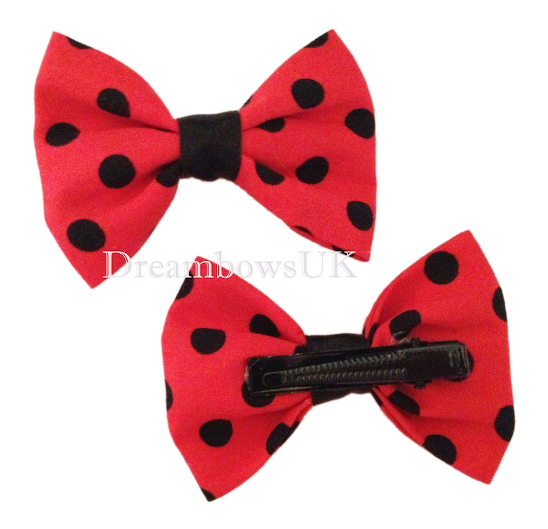 Red and black polka dot cotton hair bows on alligator clips image 0