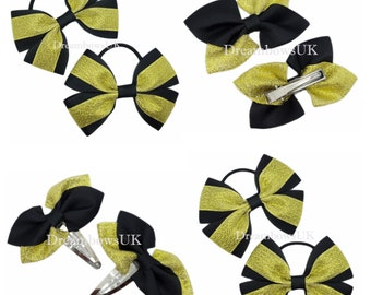 Black and gold glitter and grosgrain ribbon hair bows, hair accessories, hair bobbles and clips