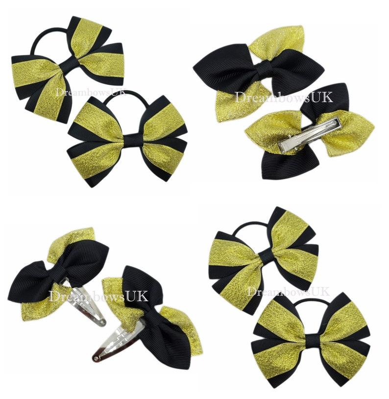 Black and gold glitter and grosgrain ribbon hair bows hair image 0