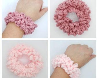 Pink crochet hair scrunchies, Candy pink or pale pink with silver sparkle