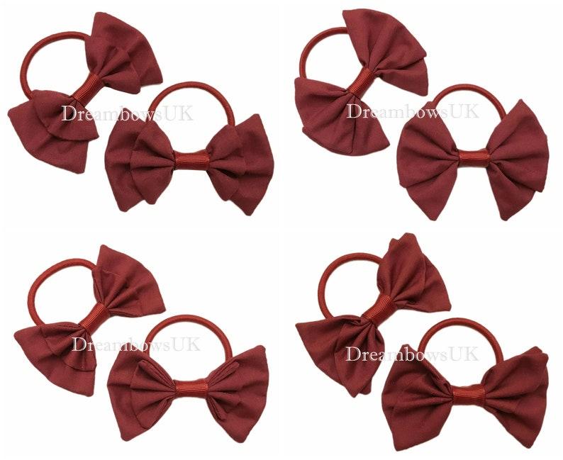 Burgundyy/Wine fabric hair bows thick haihr bobbles school image 0