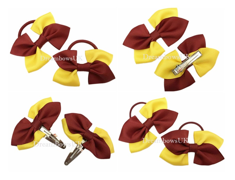 Burgundy and golden yellow grosgrain ribbon hair accessories image 0
