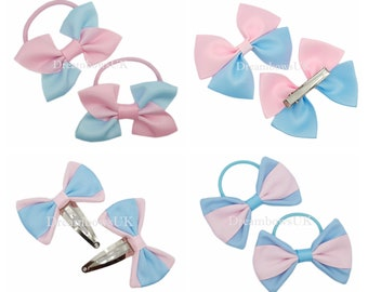 Baby pink and baby blue grosgrain ribbon hair bows Alligator clips, Snap clips, Thick bobble, Thin bobbles