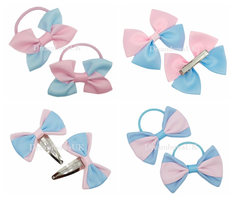 Baby pink and baby blue grosgrain ribbon hair bows Alligator image 0