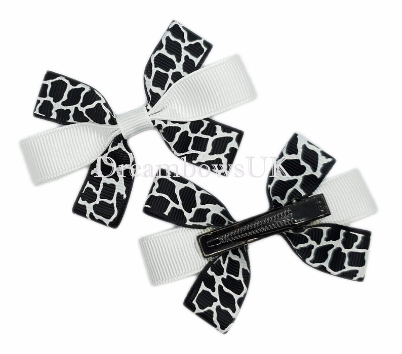 Black and white animal print grosgrain ribbon hair bows on image 0