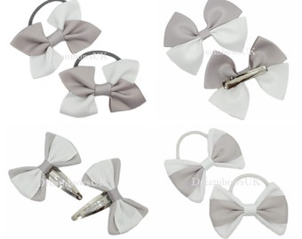 Silver and white grosgrain and fabric hair bows, bobbles and hair clips