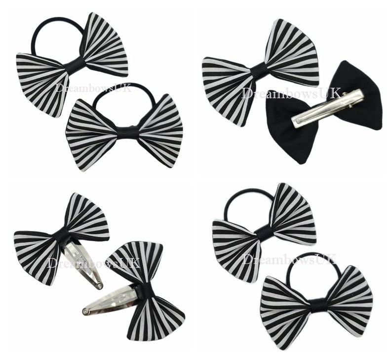 Black and white striped fabric hair bows Hair bobbles and image 0