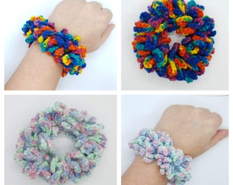 Multi colour crochet hair scrunchies, Bright's and pastel colours