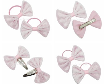 Baby pink velvet fabric hair bows, Thick bobbles, thin bobbles, alligator clips and snap clips