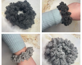 Grey or silver crochet hair scrunchie, Handmade, School hair accessories