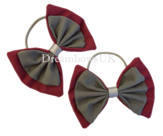 Handmade Girls School Hair Bow Bobbles Sold In Pair School  Red and White