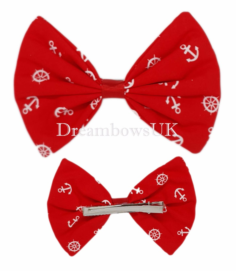 Large red hair bow Anchor design fabric accessory bow image 0