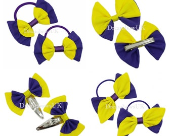 Purple and yellow fabric hair accessories, School hair bows, Thick bobbles, thin bobbles, alligator clip, snap clips