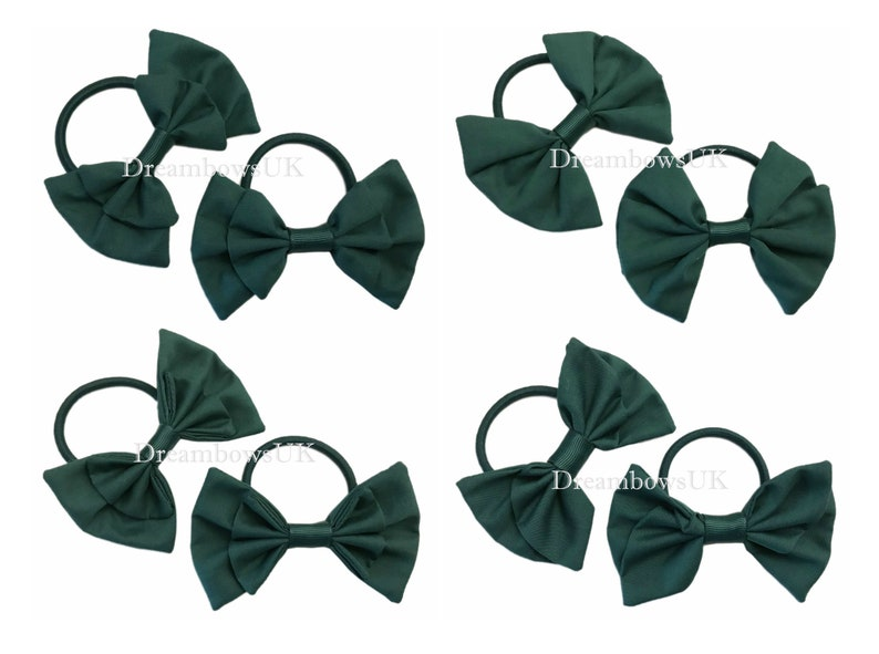 Bottle green fabric hair bows on thick bobbles bottle green image 0
