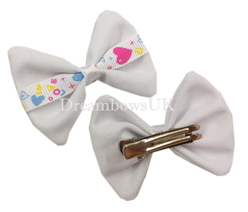 Small heart design hair bows on alligator clips toddler hair image 0