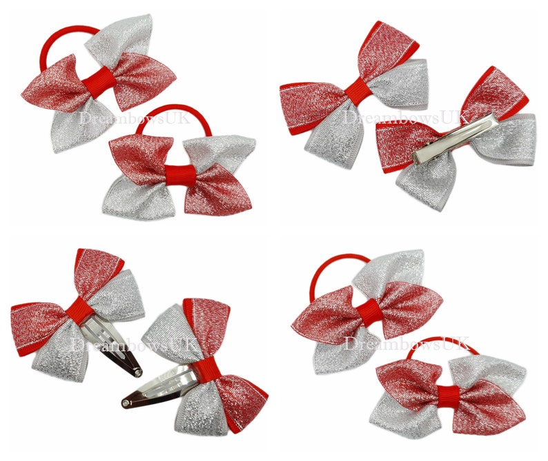 Red and silver glitter hair bows hair accessories bobbles image 0