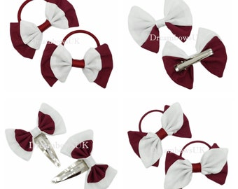 Burgundy and white fabric hair accessories, School hair bows, Thick bobbles, thin bobbles, alligator clip, snap clips