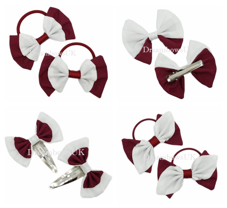 Burgundy and white fabric hair accessories School hair bows image 0