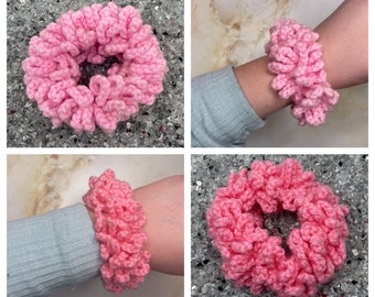 Pink crochet hair scrunchie, baby pink, candy pink or bright pink scrunchie bobble