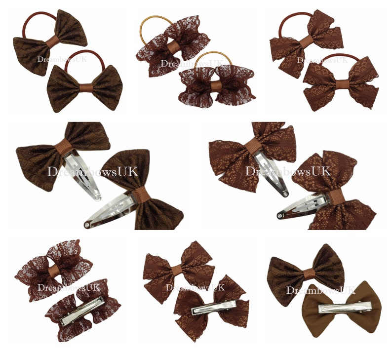 Brown lace hair bows lace hair accessories Girls brown bows image 0