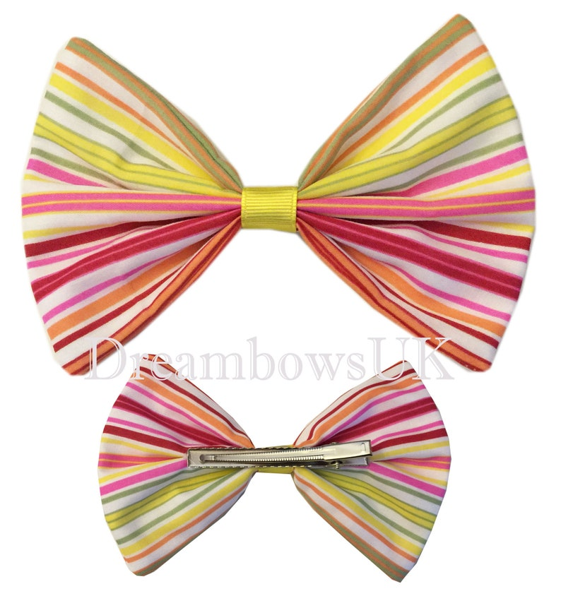 Large multi colour striped hair bow on alligator clip image 0
