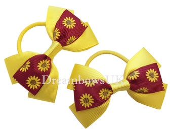 Yellow and burgundy flkoral hair bows on thick bobbles, Summer floral hair accessories, hair elastics, hair ties, Girls handmade bows UK