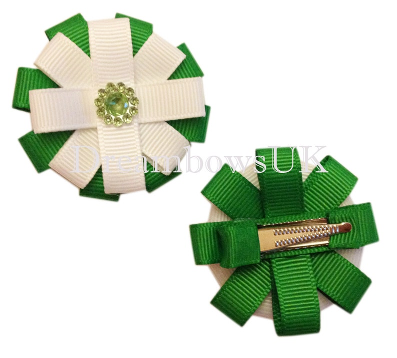 Emerald green and white grosgrain ribbon hair flowers on image 0