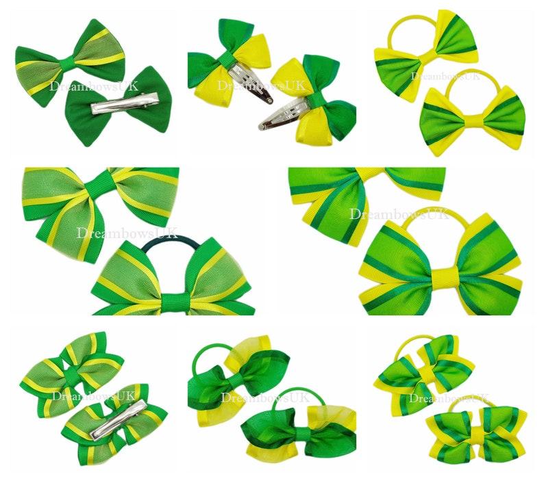 Emerald green and yellow organza hair bows school hair image 0