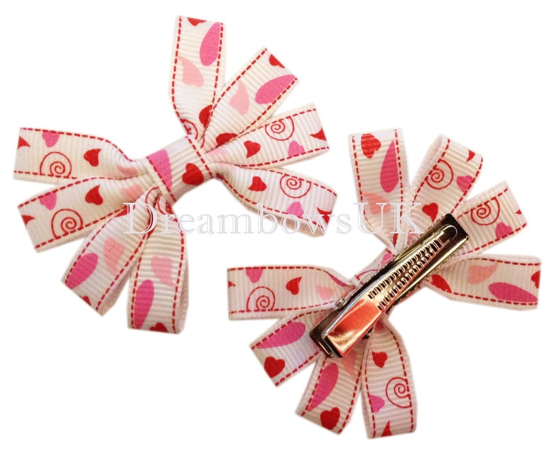 White and pink pretty hair bows on alligator clips girls hair image 0