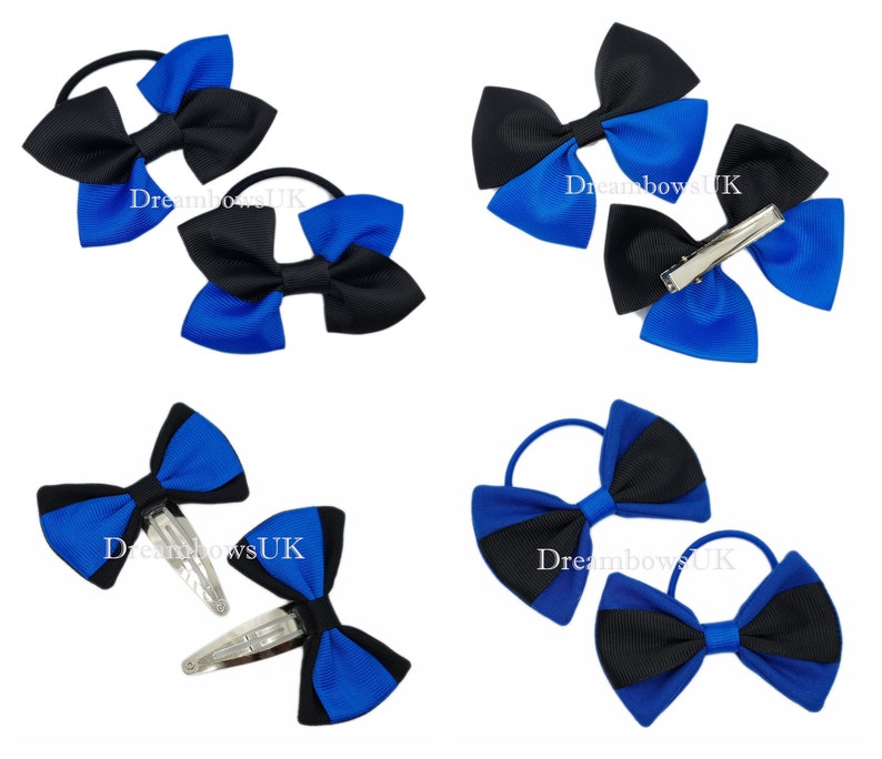 Black and royal blue grosgrain and fabric hair bows bobbles image 0