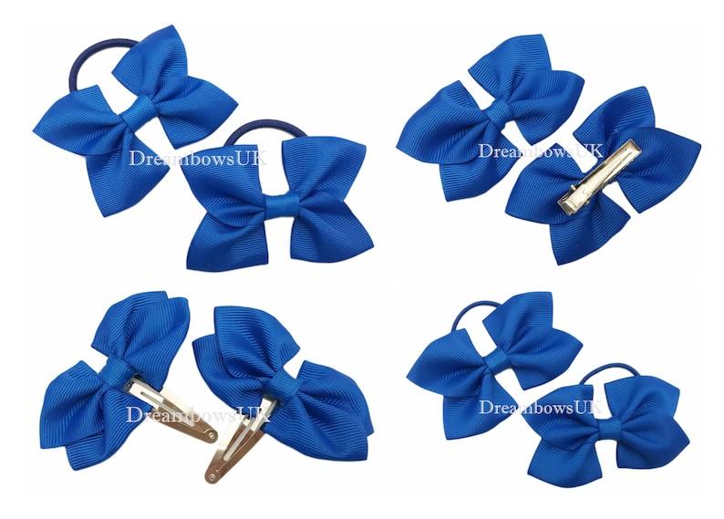Royal blue grosgrain ribbon hair bows alligator clips snap image 0