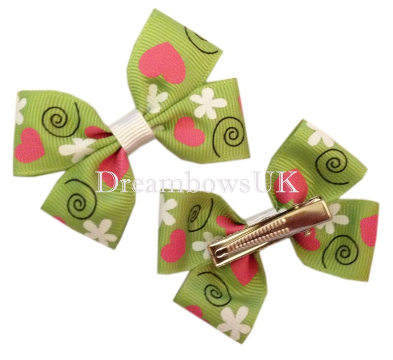 Lime green ahir bows on alligator clips girls green hair image 0