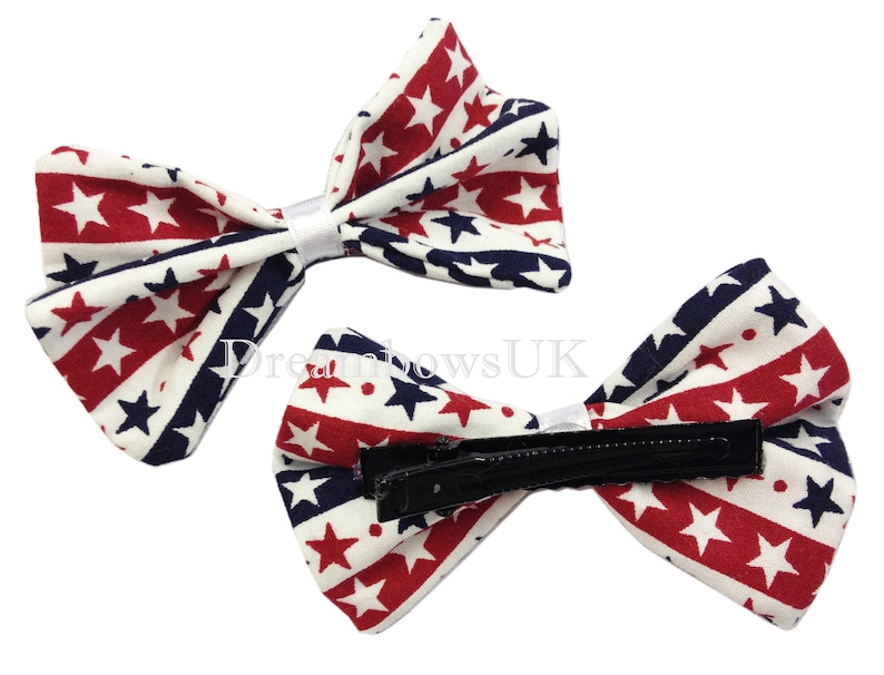 Red white and blue star design hair bows on alligator clips image 0