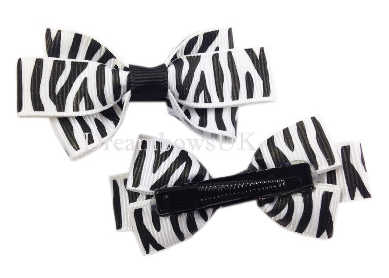 Black and white animal print grosgrain ribbon hair bows image 0