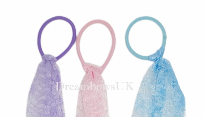 Lace hair accessory streamers Thick bobbles. Pastel lace hair image 0