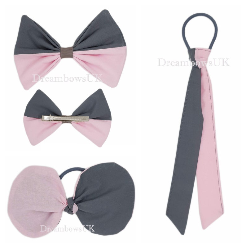 School grey and baby blue fabric hair accessories Large bow image 0