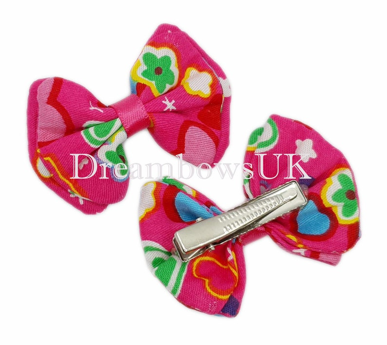 Pink hearts design fabric hair bows on alligator clips image 0