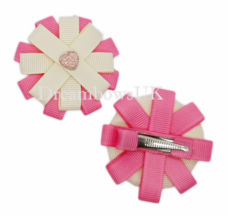 Cream and pink ribbon hair flowers on alligator clips image 0